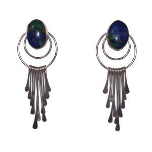 Sterling Bezel Set Chrysocolla Cabochon Dangle Cha